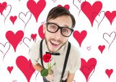 Geeky lovesick hipster holding rose — Stock Photo