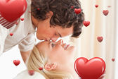Close up of a man kissing his fiance — Stock Photo