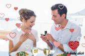 Man surprising woman with a wedding ring — Stock Photo