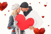 Smiling couple with heart shape — Stock Photo