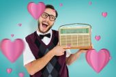 Geeky hipster holding retro radio — Stock Photo