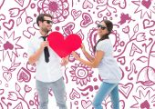 Hipster couple smiling — Stock Photo