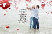 Full length of a couple dancing at beach — Stock Photo
