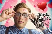 Geeky hipster covered in kisses — Stock Photo