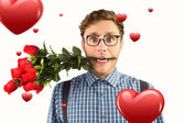 Geeky hipster biting bunch of roses — Stock Photo