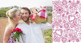 Cute couple going for a picnic with woman kissing — Foto Stock
