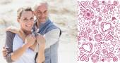 Happy hugging couple on the beach looking — Foto Stock