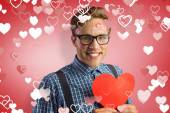 Geeky hipster covered in kisses — Foto de Stock