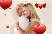 Affectionate couple standing and hugging — Stock Photo