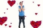 Geeky hipster zenuwachtig op zoek — Stockfoto