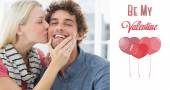 Woman kissing man on his cheek — Foto Stock