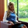 Businesswoman using her digital tablet smiling at camera — Stock Video #65079143