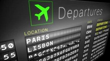 Departures board for european cities — Stock Video