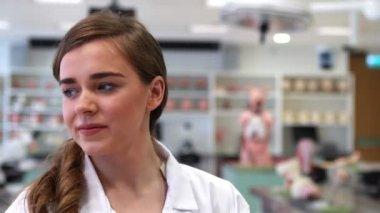 Medical student smiling at camera — Stock Video