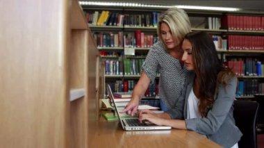 Smiling classmates using laptop at desk — Stock Video