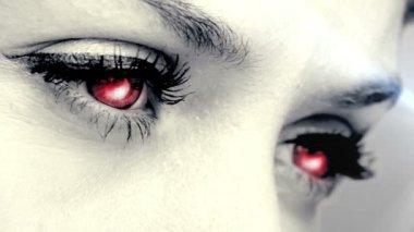 Glowing eyes blinking — Stock Video