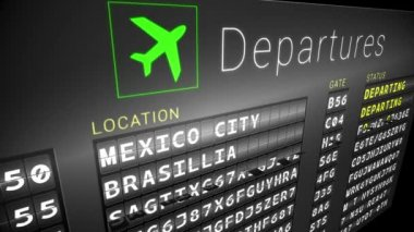 Departures board for south american cities — Stock Video