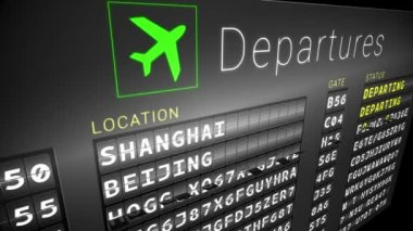 Departures board for asian cities — Stock Video