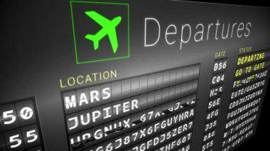 Departures board for space travel — Stock Video