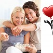 Composite image of cute valentines couple — Zdjęcie stockowe #65236459