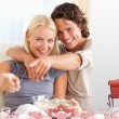 Composite image of cute valentines couple — Stock Photo #65236647