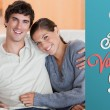 Composite image of cute valentines couple — Stock Photo #65237007