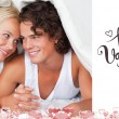 Composite image of cute valentines couple — Stock Photo #65238183