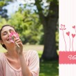 Composite image of cute valentines couple — Stockfoto #65238309