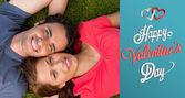 Composite image of cute valentines couple — Fotografia Stock
