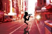 Composite image of pretty break dancer — Stock Photo