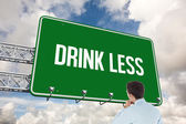 Word drink less and businessman — Stock Photo