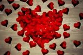 Imagem composta de corações o amor vermelho — Fotografia Stock