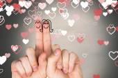 Составное изображение пальцев пересекли как пара — Стоковое фото