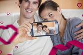 Composite image of valentines couple — Fotografia Stock