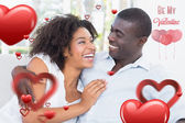 Composite image of cute valentines couple — Foto de Stock