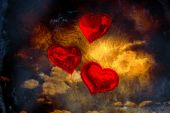 Composite image of heart balloons — Stock Photo
