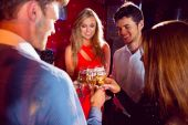Happy friends toasting with champagne — Stock Photo
