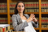 Pretty lawyer in the law library — Stock Photo
