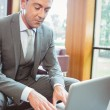 Focused handsome businessman using his laptop — Stock Photo #65287235