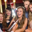 Drunk friends watching barman making cocktail — Stock Photo #65287623