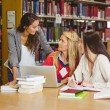 Happy three students working together — Stock Photo #65289625