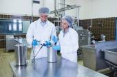 Focused biologist team working together — Stock Photo