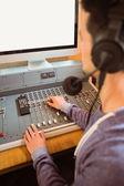 Portrait of an university student mixing audio — Foto de Stock