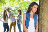 Lonely student being bullied by her peers — Stock Photo