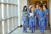Medical students walking through corridor — Stock Photo