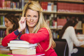 Student with reading glasses — Stock Photo