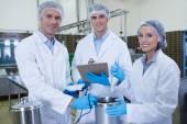 Biologist team smiling at camera — Stock Photo