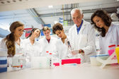 Students watching lecturer in the lab — Stock Photo
