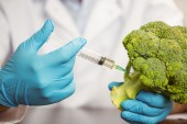 Food scientist injecting head of broccoli — Stock Photo