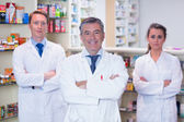 Smiling pharmacy team standing with arms folded — Stock Photo